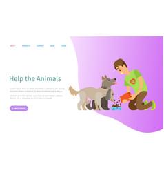 helping animals volunteering man feeding pet vector image