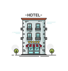 hotel with five stars line vector image
