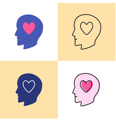 human head with heart icon set in flat and line vector image