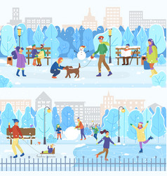 Ice rink and winter park people skating outdoors vector