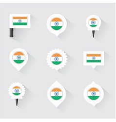 India flag and pins for infographic and map design vector