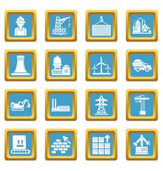 Industry icons set sapphirine square vector