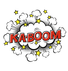 Ka-boom phrase in speech bubble comic text bubble vector