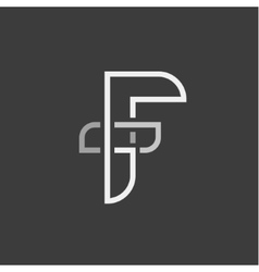 Letter F and abstraction of the flat vector image