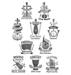 Live music icons and musical instruments vector