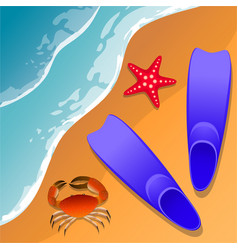 Llustrations at the beach theme summer vacation vector