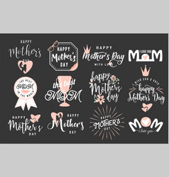 logo set emblem for mother vector image