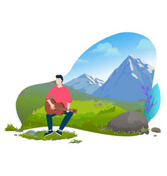 man sitting on grass and playing guitar vector image