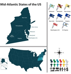 Map of Mid Atlantic states of the United States vector