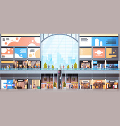 Modern shopping mall interior with many people big vector