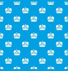monarch crown pattern seamless blue vector image