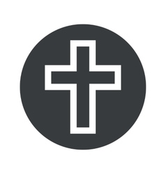 Monochrome round christian cross icon vector image