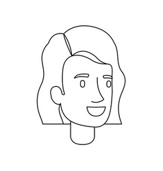 monochrome silhouette of woman face with short vector image