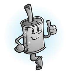 muffler cartoon mascot giving a thumbs up vector image