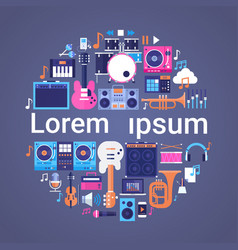 music instruments and equipment electronics icons vector image
