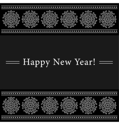 New Year card with white ornamental snowflakes vector image