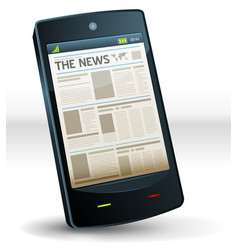 newspaper inside pocket mobile phone vector image