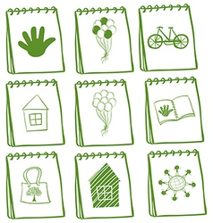 Notebooks with different cover page designs vector image