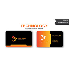 Orange business card design template vector