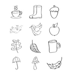 Outlined icons decoration autumn season vector