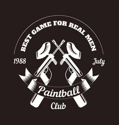 Paintball club logo template of pint ball gun vector
