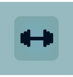 Pale blue barbell icon vector