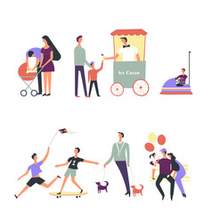 People family children in park icons vector