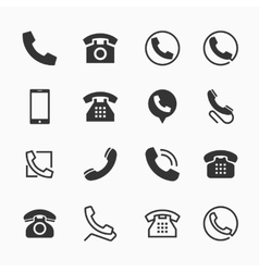 phone icons set 16 telephone symbols vector image