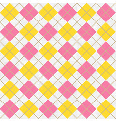pink and yellow argyle harlequin seamless pattern vector image