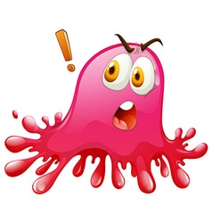 Pink splash with shocking face vector image