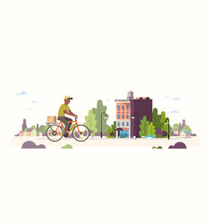 Postman in uniform riding bicycle carrying vector