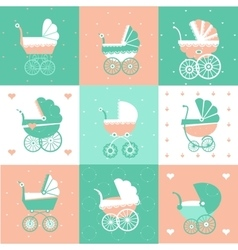 Prams-Baby carriage set vector image
