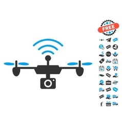 Radio Camera Airdrone Icon With Free Bonus vector