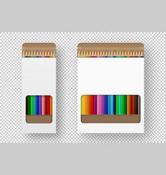 Realistic box colored pencils icon set vector