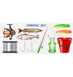 realistic fishing elements transparent set vector image