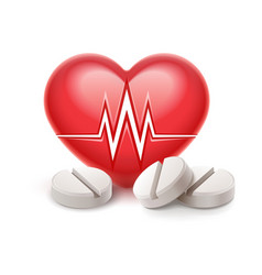 red heart icon with heartbeat vector image