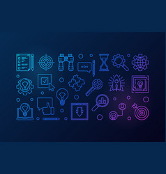 research creative outline horizontal banner vector image