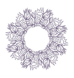 Round hand drawn mandala shape flowers and herbs vector