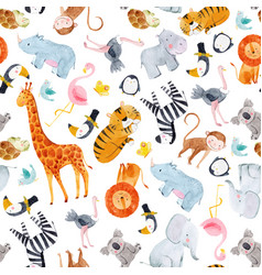 Safari animals watercolor pattern vector