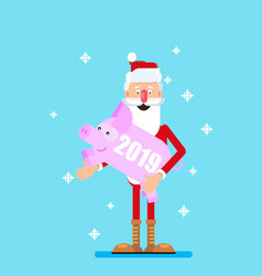 santa claus and pig symbol of the year vector image