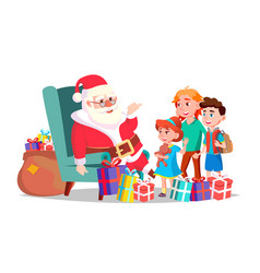 santa claus with children merry christmas vector image