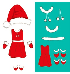 Santa Girl Costume vector image