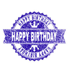 Scratched textured happy birthday stamp seal with vector