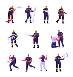 set flat firefighters policemen and victims vector image