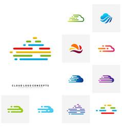 set of fast cloud logo design concept tech cloud vector image
