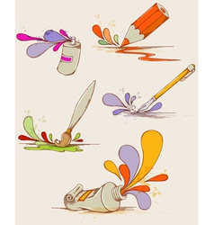 set of hand drawn paints and pencils vector image
