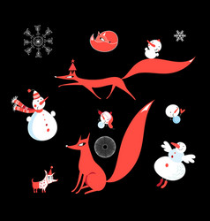 set of red foxes and funny snowmen vector image
