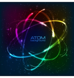 shining neon lights atom model vector image