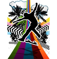 Skateboarder summer background vector