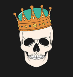 skull wearing crown graphic for t-shirt vector image